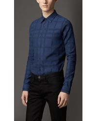 Burberry Slim Fit Check Cotton Shirt - Lyst