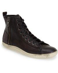John Varvatos Hattan Zip Leather Sneakers black - Lyst