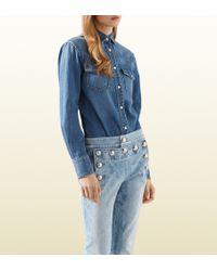 Gucci Stonewashed Denim Shirt - Lyst