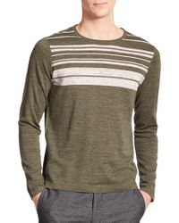 Vince Striped Sweater green - Lyst