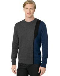 Calvin Klein Crewneck Intarsia Sweater - Lyst