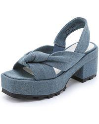 Cheap Monday Trapped Knot Platform Sandals - Pale Denim - Lyst