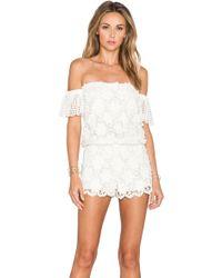 Alexis Kina Crochet Romper white - Lyst