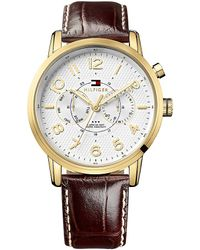 Tommy Hilfiger Watch With Embossed Leather Strap - Lyst