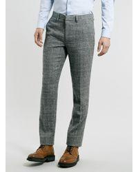 Topman Grey Geometric Texture Skinny Suit Trousers - Lyst
