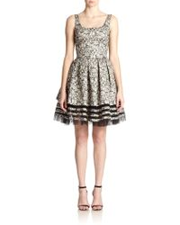 Sachin & Babi Noir Tulle-Trim Fit-And-Flare Dress - Lyst