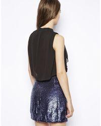 Dress Gallery - Nelia High Neck Silk Dress with Sequin Skirt - Lyst