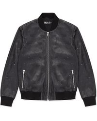 Blood Brother Black Leather Laser Cut Bomber - Lyst