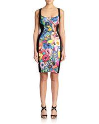 Just Cavalli Floral Print Sheath Dress - Lyst