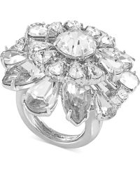 Carolee - Silvertone Crystal Flower Statement Ring - Lyst