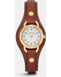 COACH - Dree Gold Plated Leather Buckle Cuff Watch - Lyst
