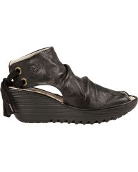 Fly London Yame Wedge Bootie Sandal Black Leather black - Lyst