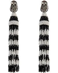 Oscar de la Renta Striped Tassel Glass-Bead Earrings - Lyst