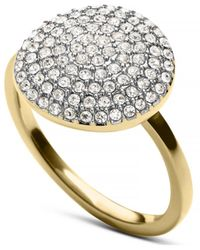 Michael Kors Gold-tone and Clear Glitz Disc Ring - Lyst