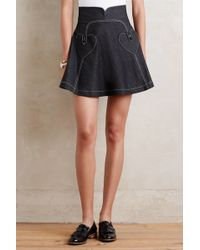 Anna Sui | Heart Of Hearts Denim Mini Skirt | Lyst