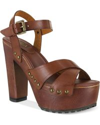 MIA Elly Platform Wooden Clog Sandals - Lyst