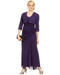 Alex Evenings Petite Sequinlace Ruched Gown and Jacket - Lyst