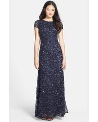 Adrianna Papell Women'S Short Sleeve Sequin Mesh Gown - Lyst