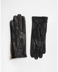 Oasis - Zip Leather Gloves - Lyst