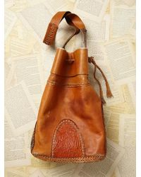 Free People Womens Vintage Leather Drawstring Hobo brown - Lyst