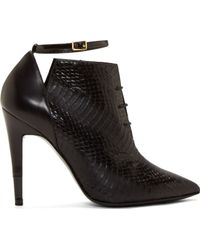 Pierre Hardy Black Snakeskin Paneled Lace_Up Ankle Boots - Lyst