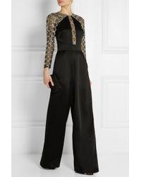 Temperley London Klara Embellished Tulle-paneled Satin-crepe Jumpsuit - Lyst