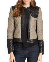 BCBGMAXAZRIA Contrast Leather Moto Jacket - Lyst