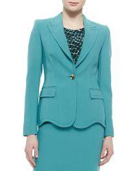 ESCADA - Wave-Edge Single-Button Jacket & Belted Gabardine Pencil Skirt - Lyst