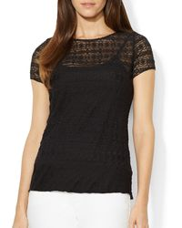 Ralph Lauren Lauren Embroidered Lace Tee - Lyst
