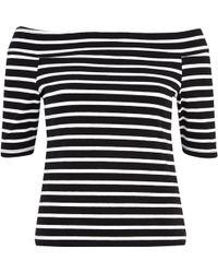 River Island Black And White Stripe Bardot Top - Lyst