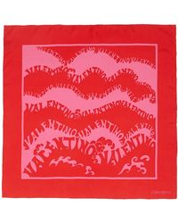 Valentino 'Ss1970 Re-Edition' Vintage Print Silk Scarf red - Lyst