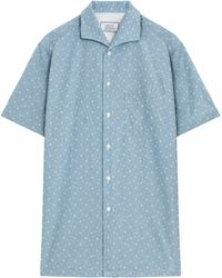 Officine Generale 13 Chambray Print Ss Shirt - Lyst