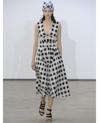 Derek Lam Checkprint Aline Dress - Lyst