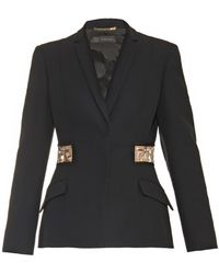 Versace Crystal-Embellished Silk-Cady Tailored Jacket black - Lyst