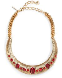 Oscar de la Renta Jeweled Swarovski Crystal Basket-weave Collar Necklace - Lyst