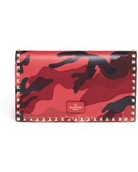 Valentino 'Rockstud' Camouflage Foldover Clutch - Lyst