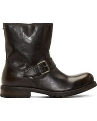 Diesel Grey Leather B My Rock Harness Boots - Lyst