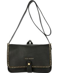 Ted Baker Studded Leather Crossbody Bag Black - Lyst