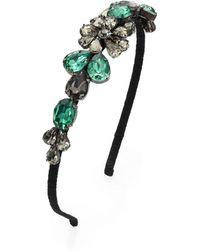 Marni Embellished Silk Headband green - Lyst
