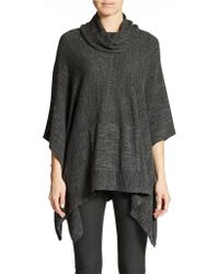 Eileen Fisher Cowl Neck Cotton Poncho - Lyst