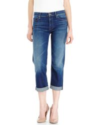 Mother Pretender Crop & Roll Jeans - Lyst
