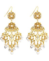 Jose & Maria Barrera Faux-Pearl & Crystal Filigree Chandelier Earrings gold - Lyst