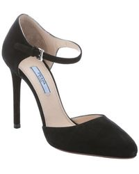 Prada Black Suede Mary-Jane D'Orsay Pumps - Lyst