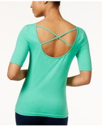 American Living - Boat-neck Crisscross Back Top - Lyst