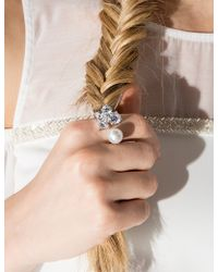 Pixie Market - Pearl And Diamond Open Ring - Lyst