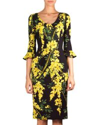 Dolce & Gabbana Yellow Mimosa-Print Dress - Lyst