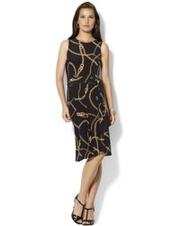 Lauren by Ralph Lauren Sleeveless Chainprint Aline Dress - Lyst