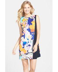 Cynthia Steffe Print Charmeuse Faux Wrap Shift Dress multicolor - Lyst