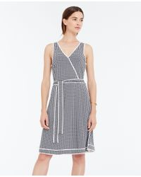 Ann Taylor Tipped Wrap Dress blue - Lyst