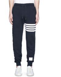 Thom Browne   Stripe Leg Cotton Sweatpants   Lyst
